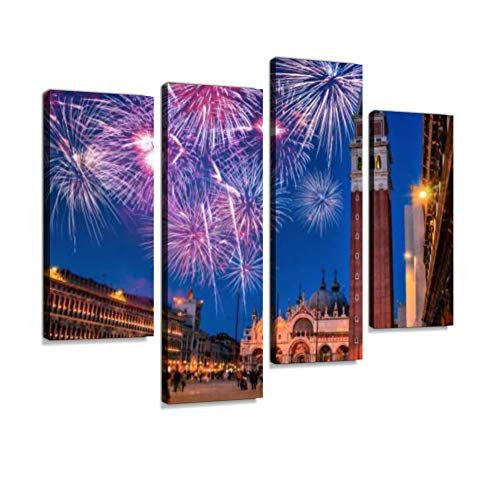Venice Cityscape View on San Marco Square with Fireworks Canvas Wall Art Hanging Paintings Modern Artwork Abstract Picture Prints Home Decoration Gift Unique Designed Framed 4 Panel -