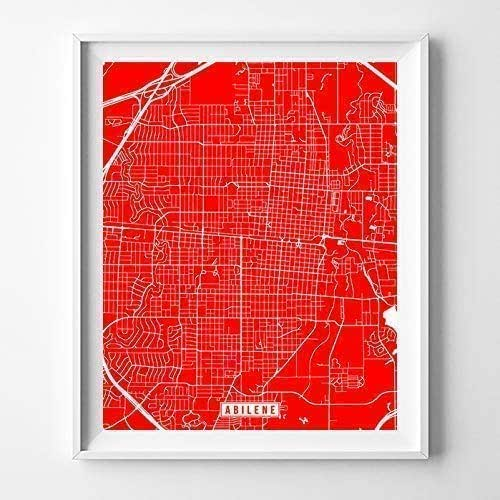 Amazon.com: Abilene Texas Map Print Street Poster City