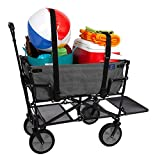 Mac Sports Double Decker Collapsible Outdoor Utility Wagon with Straps, Folding Pull Cart for Sports Baseball Pool Camping Fishing, Collapsable Fold up Wagon with Wheels, Heavy Duty, Two Tone Gray
