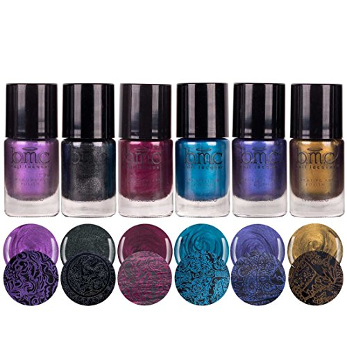 l Metallic, Shimmery, Dark Colored Duochrome Halloween Fall Fashion Highly-Pigmented Creative Nail Art Stamping Polish Full Collection - Set of 6 (Halloween Gel)