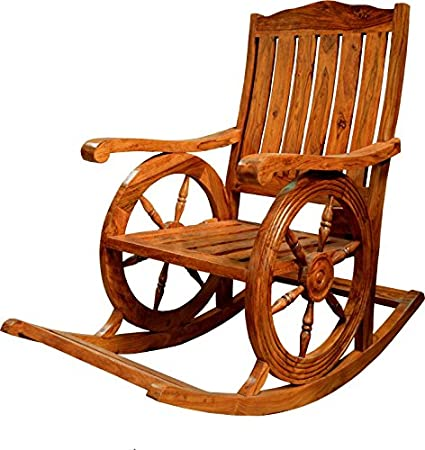 Excellent Decor Savvy Stambh Wheel Designed Pure Rosewood Rocking Squirreltailoven Fun Painted Chair Ideas Images Squirreltailovenorg