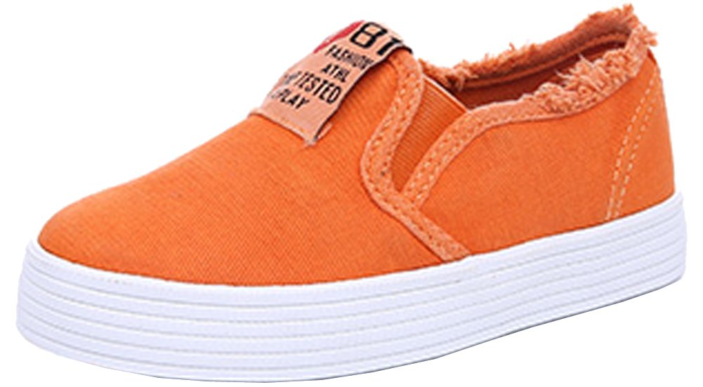 VECJUNIA Outdoor Slip-on Frayed Canvas Low Top Loafers for Boys and Girls Orange 8.5 M US Toddler