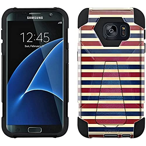 Samsung Galaxy S7 Edge Hybrid Case Patriotic Classic Stripes Red White and Blue 2 Piece Style Silicone Case Cover with Stand for Samsung Galaxy S7 Edge Sales