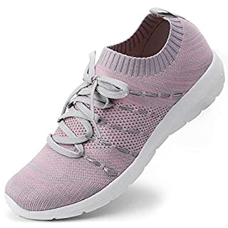 EvinTer Women's Running Shoes Lightweight Comfortable Mesh Sports Shoes Casual Walking Athletic Sneakers Grey/Pink