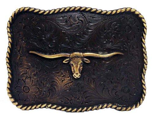 Antique Copper Texas Longhorn Steer Engraved Western Belt (Texas Buckle)