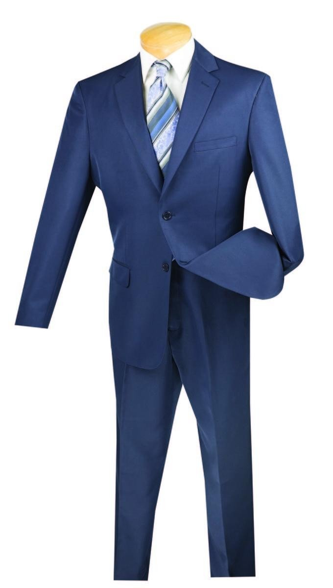 Vinci 2 Button Single Breasted Classic Fit Gabardine Suit 2AA-Navy-42R