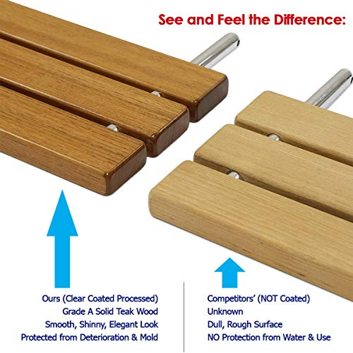 Clevr 20 Quot Teak Wood Modern Folding Shower Seat Bench
