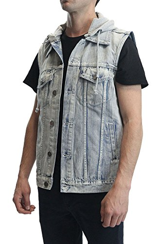 Victorious Denim Vest with Detachable Hood DV777 - ICEBLUE - Large A1B