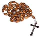 JERUSALEM Holy SOIL Olive Wood Christian Rosary Silver Crucifix