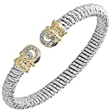 Vahan Bracelets: Awand Vahan Jewelry for Women: Sterling Silver & 14K Gold with 0.14cttw Round-Cut Diamonds (G-H Color, VS2-SI1 Clarity) Width of 6mm