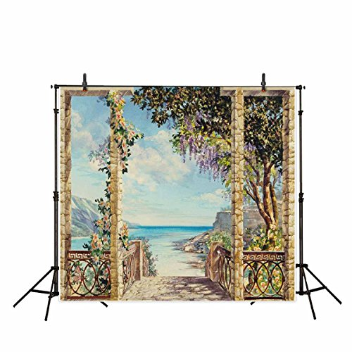 Funnytree 10x10ft Digital Photography Backdrops Background Oil Painting Landscape Flowers Garden Blue Sky for Wedding Photo Studio Backdrop (Upgrade - Background Oil Painting