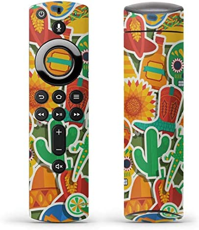 igsticker Fire TV Stick 第2世代 専用 リモコン用 全面 スキンシール フル 背面 側面 正面 ステッカー ケース 保護シール 009444 ドクロ サボテン フラワー