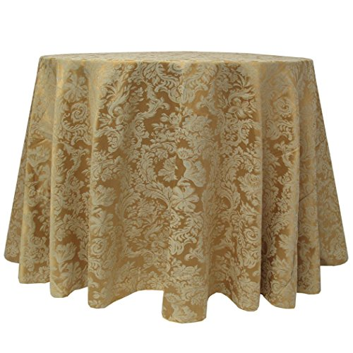 (Ultimate Textile -5 Pack- Damask Miranda 52 x 70-Inch Oval Tablecloth - Floral Leaf Two-Tone Jacquard Design, Dijon Gold)