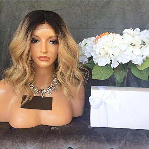 Full Lace Wigs Blonde Ombre Human Hair Glueless Lace Front Wig for Black Women 150% Density 1B/27 2 Tone Baby Hair Around (14 Inch, 150% Lace Front Wigs)