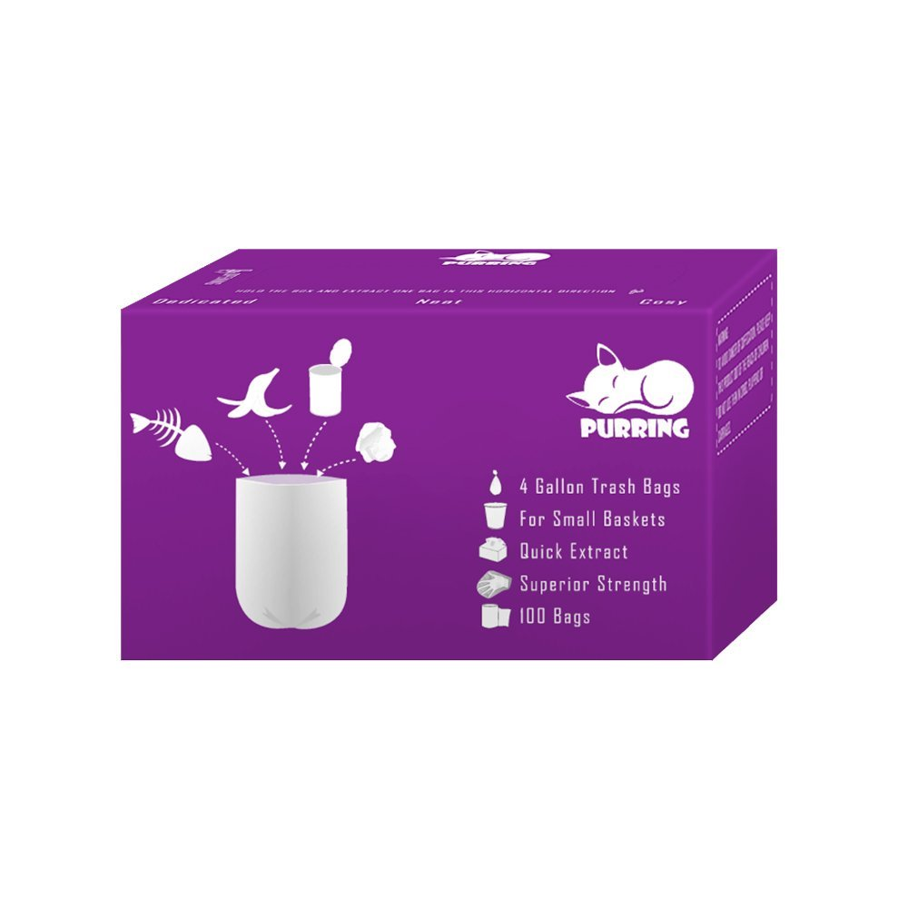 Purring Small Garbage Bags with Quick-dispense, 4 Gallon Trash Can Liners with Cute and Compact Package, 100 Count (Purple)