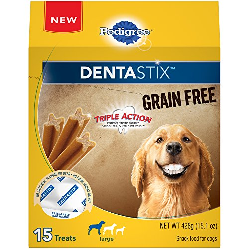 PEDIGREE DENTASTIX Grain Free Dog Dental Treats for Large Breed Dogs (4, 15-Count Packs, 60 Total Treats)