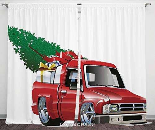 Satin Window Drapes Curtains [ Christmas,Red Pickup Truck with Big Gift Boxes and Tree Xmas Art Prints Farm Motor Theme,White Red ] Window Curtain Window Drapes for Living Room Bedroom Dorm Room Class]()