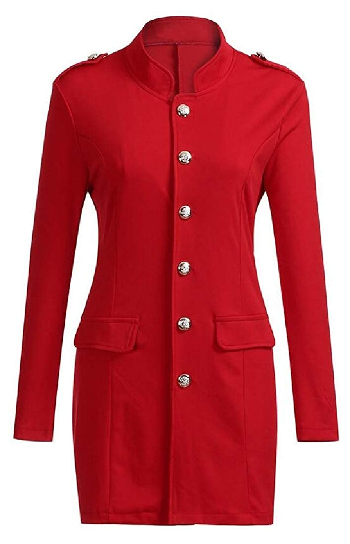 Etecredpow Womens Coat Work Slim Long-Sleeve Button Up Blazer Jacket