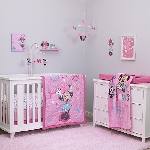 Crib Bedding Bundle Set - Disney Baby Minnie Mouse All About Bows 4 Piece Nursery Crib Bedding Set, Pink, Aqua