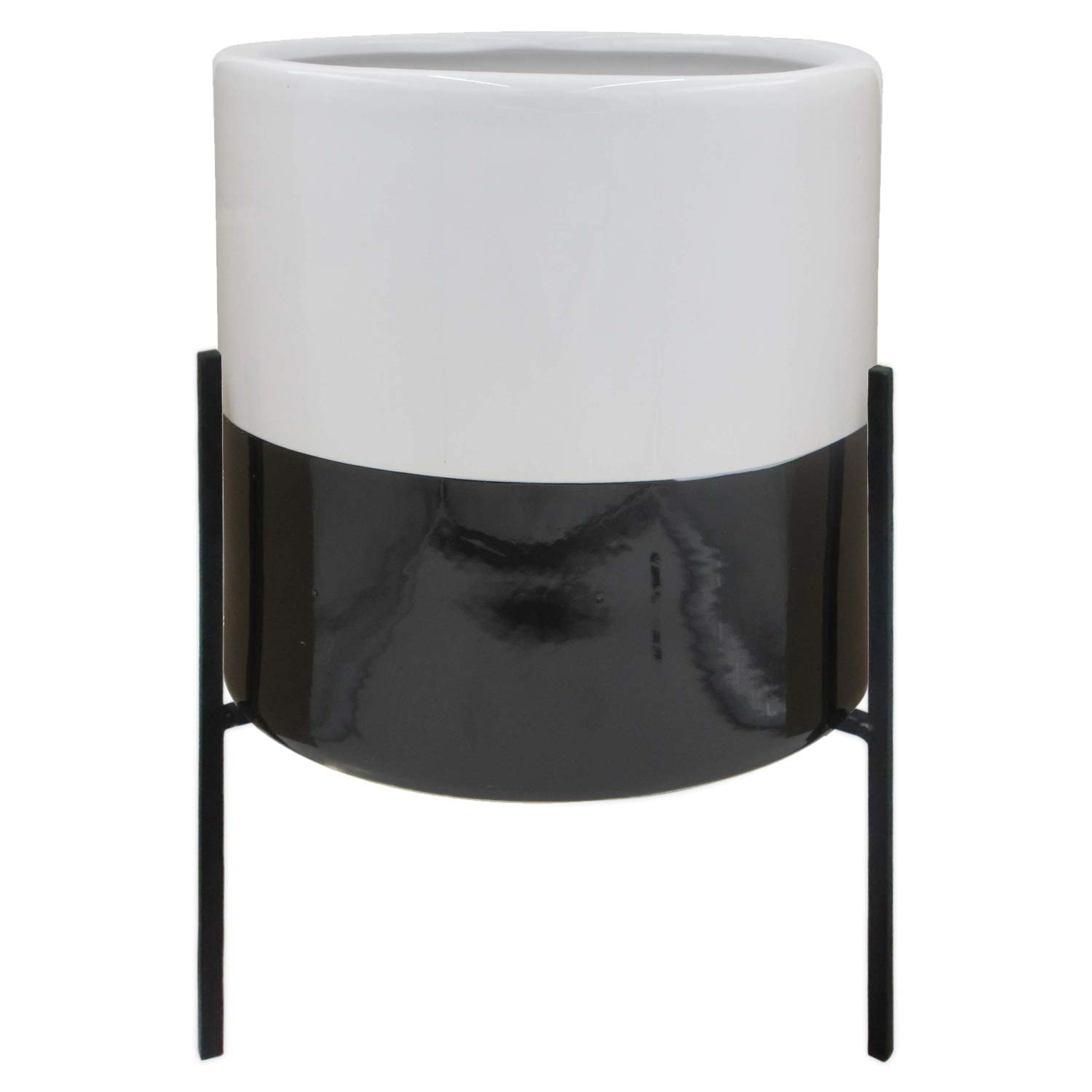 """Rivet Mid-Century Ceramic Planter with Iron Stand, 18.9""""H, Black and White"""