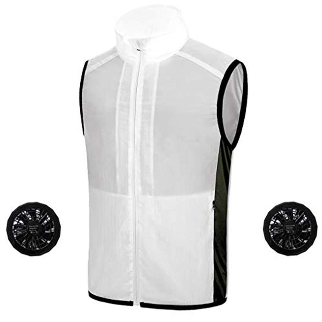 ✿HebeTop✿ Fashion Zip Hoodie Conditioning Heatstroke Jacket Outdoor Working Tops White