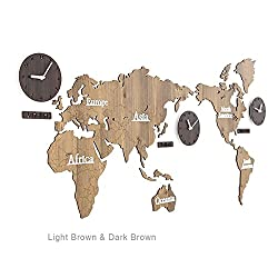 guazhong MCC Creative Home Decoration World Map Large Wall Clock Simple DIY Personalized Art Wooden 3 Country Hanging Clock, Light Brown/Dark Brown, 137X63cm