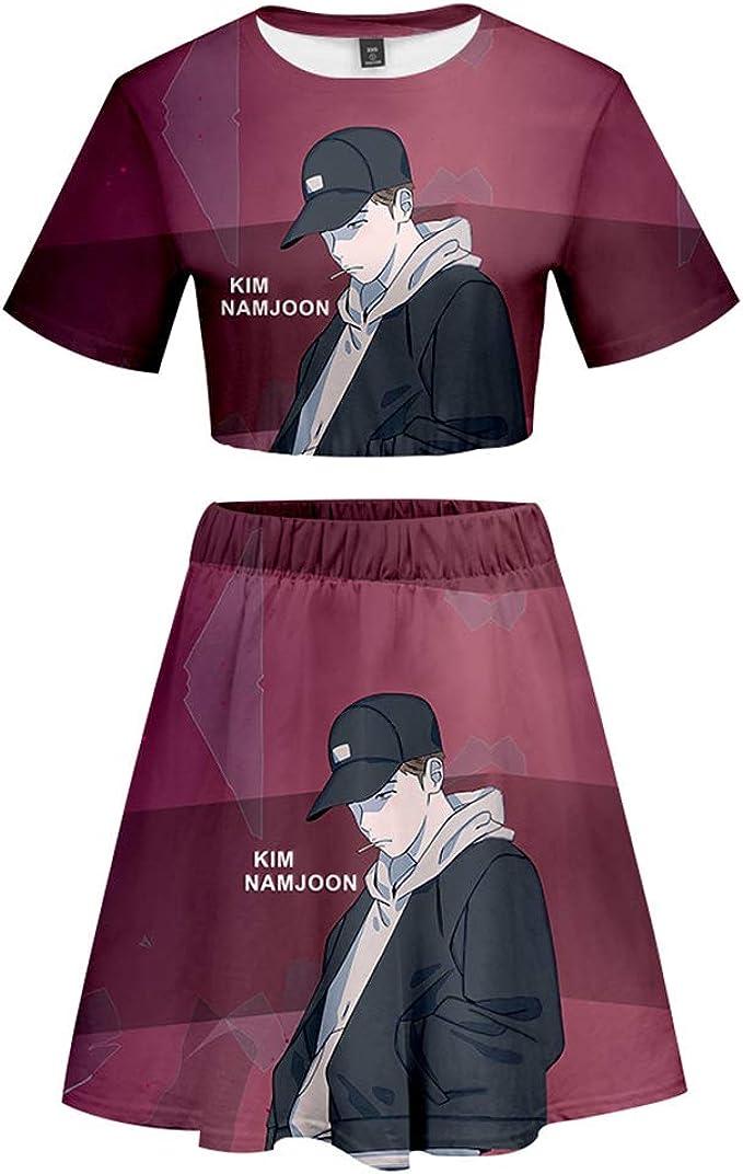 KPOP BTS Conjuntos Manga Corta + Falda 3D Comic Retrato Digtal Fan ...