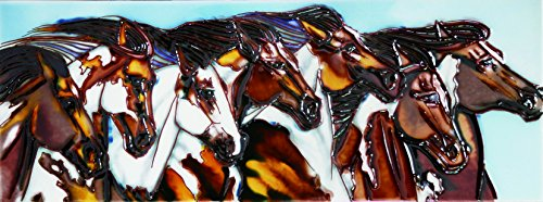 Horse Tile Box - 7 Horses - Decorative Ceramic Art Tile - 6