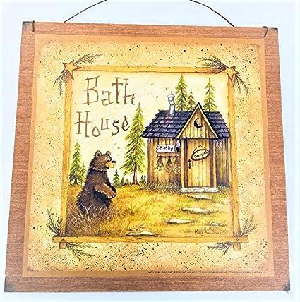 Amazon.com: Bear Bath House Wooden Bathroom Wall Art Sign Cabin ...