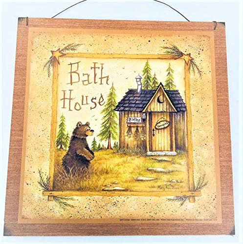 - Bear Bath House Wooden Bathroom Wall Art Sign Cabin Lodge Lake Decor Camper *