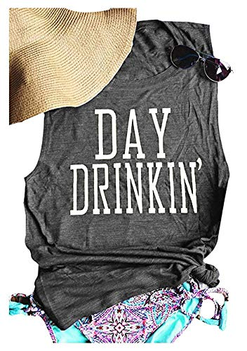 MK Shop Limited Women's Day Drinkin' Casual Tank Funny Letters Print Vest T-Shirt (L, Gray#)]()