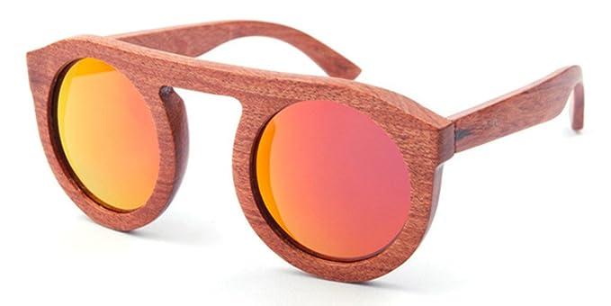 Femme Homme Lunettes de soleil en bois Bois Retro Vintage verres polarisés (Orange) CTT7T53zWz