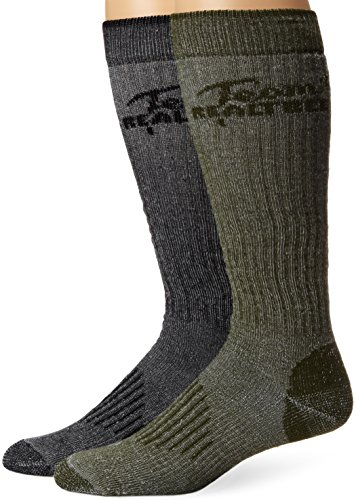 Team REALTREE Men's All Season Tall Boot Socks (2-Pair), Olive/Black, Large (Custom Hunting Boots)