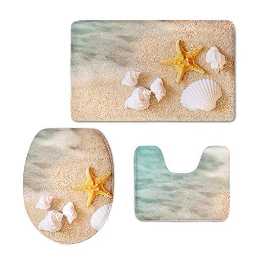 FOR U DESIGNS Bath Mat,Beach,Starfish Sea Shell Bathroom Carpet Rug Non-Slip 3 Piece Bathroom Mat ()