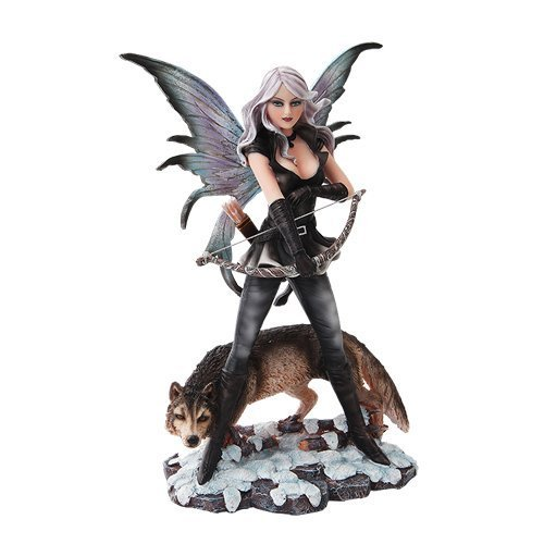 10 Inch Warrior Winged Fairy with Wolf and Bow Statue Figurine ()