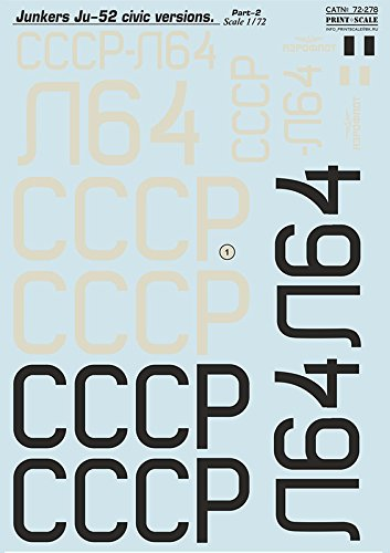 DECAL FOR JUNKERS JU-52 CIVIC VERSIONS PART-2 PRINT SCALE 72-278 -  prs 72-278