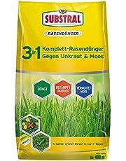 Substral Celaflor 3-in-1 complete gazonmest met onkruidverdelger en mosvernietiger tegen onkruid klaver, paardenbloem, mos, voor dicht, groen gazon, niet gevaarlijk voor bijen