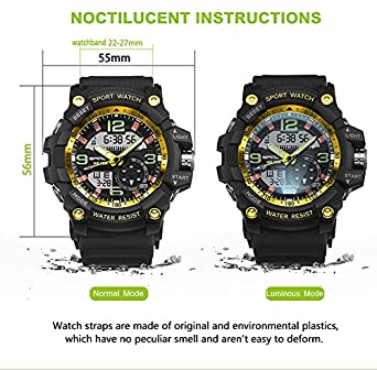 Amazon.com: Military Watch Men Waterproof Sport Watch For Mens Watches Top Brand Luxury Clock Camping Dive relogio masculino (Black-Gold): Cell Phones & ...