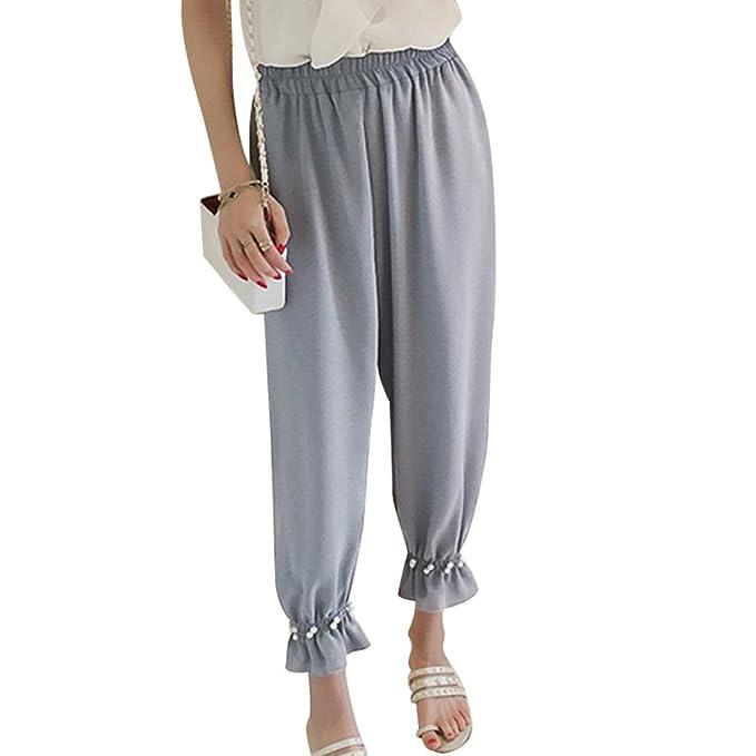 6cf0d4f418 TianBin Pantaloni Casual Donna Elegante con Elastico in Vita ...