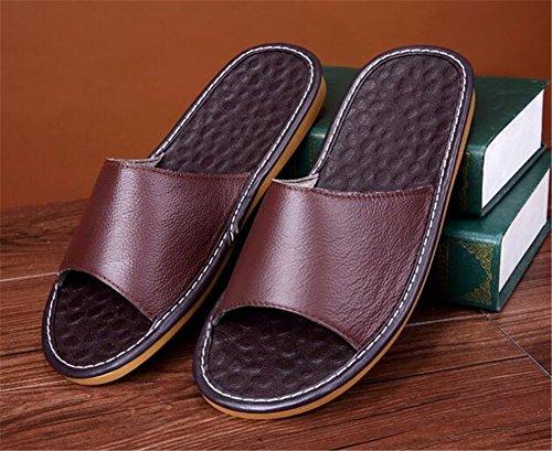 Women Brun Spring Leather for Cowhide M Autumn Corium Slippers TELLW Men Summer Floor Smelly Wooden Anti qxXOZnwS