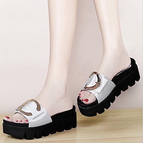 FEI Mules Slipper Lady Summer Fashion Outdoor Sandals Flat Platform Sandals Black White Sandals Casual (Color : Black, Size : EU39/UK6/CN39) White