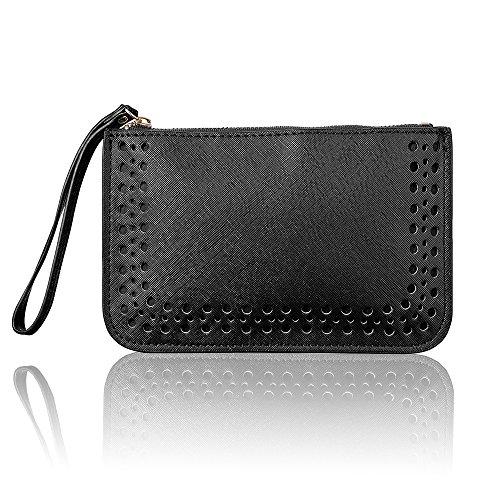 Women Leather Purse Solid Dot Coin Phone Pouch Zipper Clutch Wristlet Wallet Black (Small Wristlet)