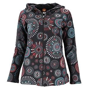 GURU SHOP Hippie Chic - Chaqueta bordada para mujer, algodón, estilo bohemio, ropa alternativa Negro S | DeHippies.com