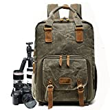 Full-size DSLR Camera Backpack Case for Photography and Laptop Travel Use w/Accessory Storage, Tripod Holder & Weatherproof Rain canvas Cover for Sony a6000, Canon EOS T6, Nikon D5500 (Army Green)