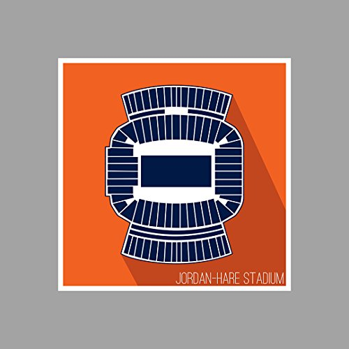Auburn - Jordan-Hare Stadium - College Football Seating Map - 18x18 Matte Poster Print Wall - Hare Map