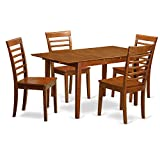 East West Furniture PSML5-SBR-W 5 Piece Dinette Table Set with Wood Seat, Saddle Brown Finish For Sale