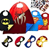 4 Superhero Capes for Kids - Super Hero Toys & Costumes Birthday Party Supplies (Boys 3)