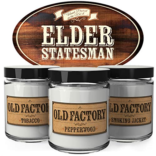 Old Factory Scented Candles for Men - Elder Statesman -Decorative Aromatherapy - Handmade in The USA with Only The Best Fragrance Oils - 3 x 4-Ounce Soy Candles