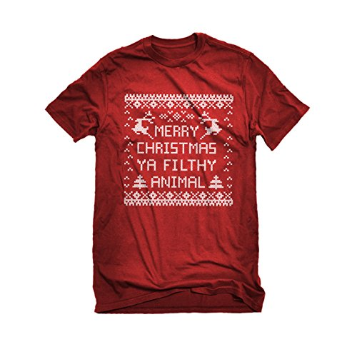 [Womens Merry Christmas Ya Filthy Animal T-Shirt Red Medium] (Mafia Themed Costume)