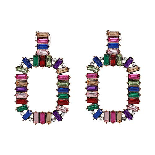 Figaro Design Bohemian 2018 Colorful Austrian Crystal Statement Fashion Square Crystal Drop Earrings for Women Geometric Gothic Magenta Multi Layer Crystal Tassel Earring Wedding Jewelry